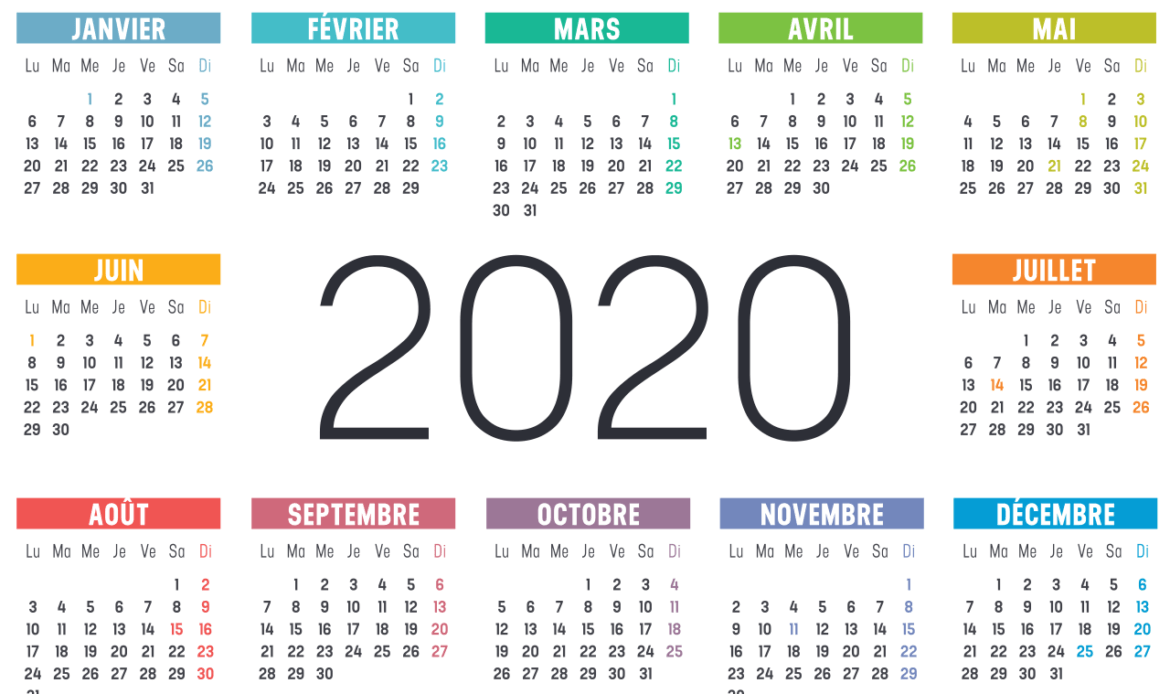 calendrier 2020 france